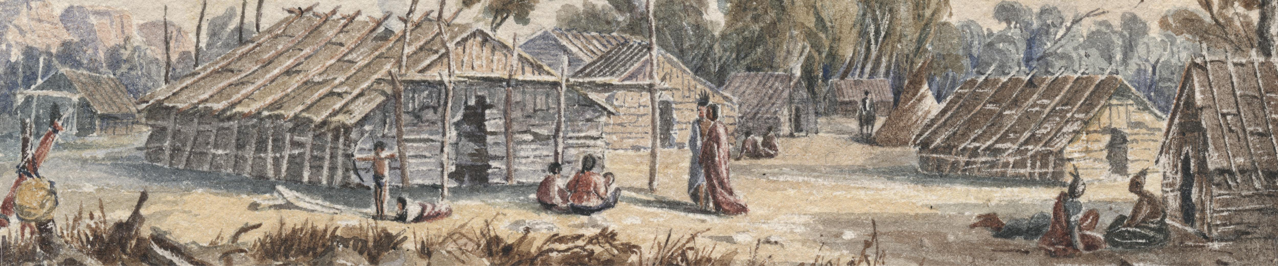 Dakota summer lodge, 1846–1848. Watercolor painting by Seth Eastman.