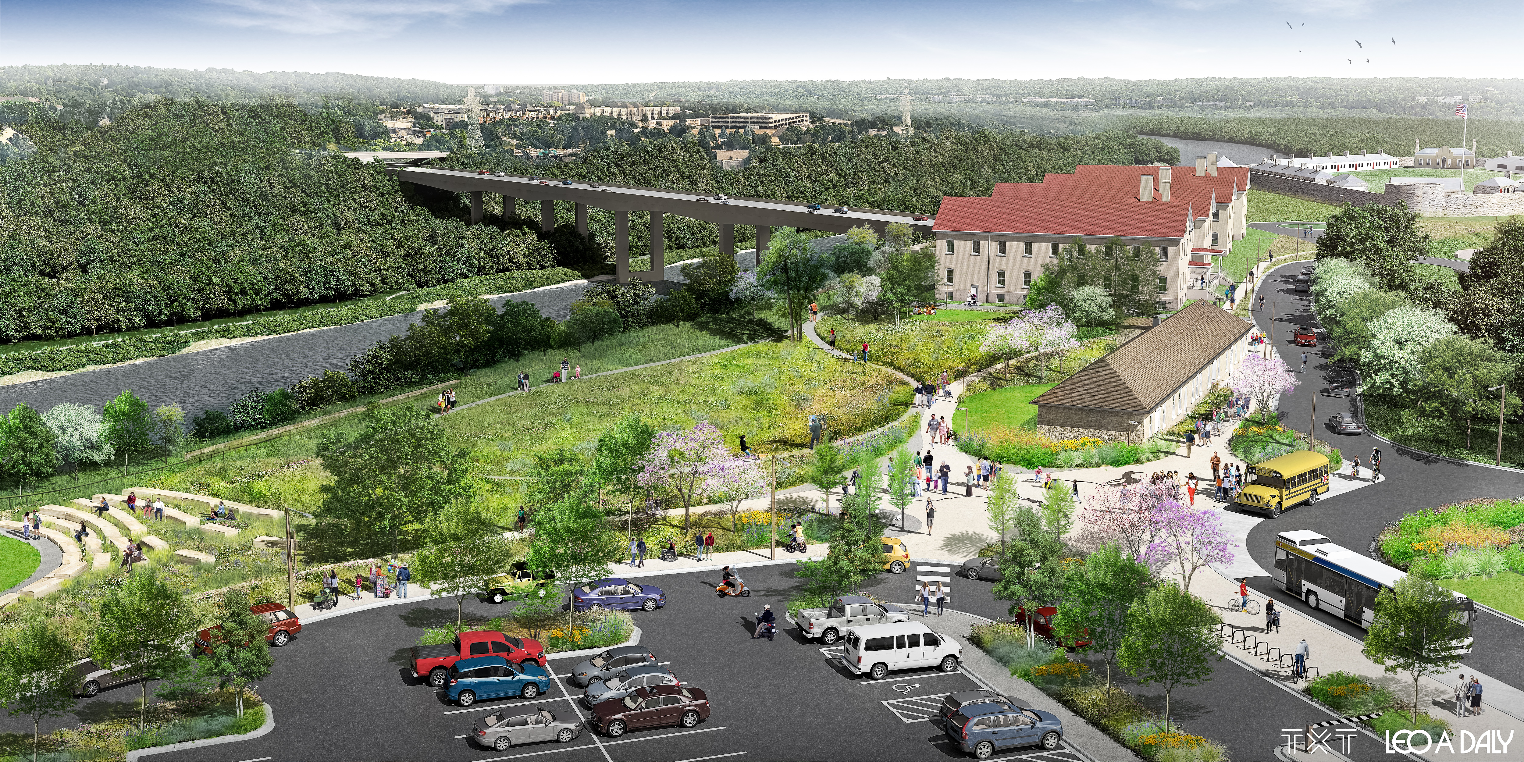 aerial schematic rendering of historic fort snelling
