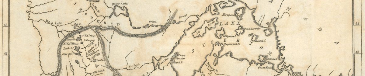 An old map showing Lake Superior.