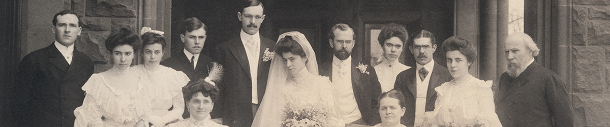 Wedding portrait including members of James J. Hill's family