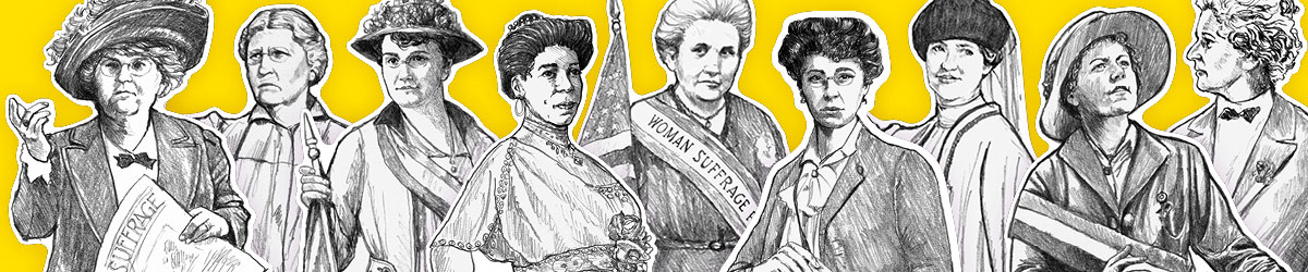 Illustration of Jenova Martin, Sarah Tarleton Colvin, Gertrude Hunter, Amanda Lyles, Ethel Hurd, Theresa Peyton, Bertha Moller, Elsa Ueland, and Clara Ueland.