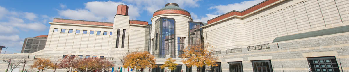 Wide view of the front of the Minnesota History Center.