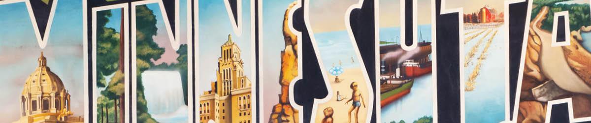 "The word ""Minnesota"" illustrated with scenes of Minnesota life."
