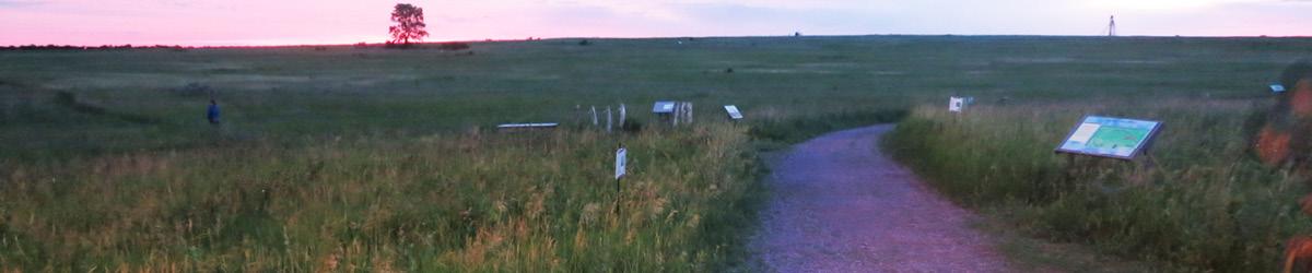 A path leads into the prairie.