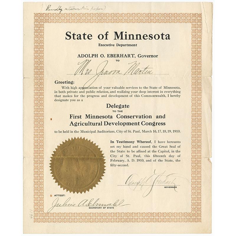 Jenova Martin, delegate certificate, 1910.