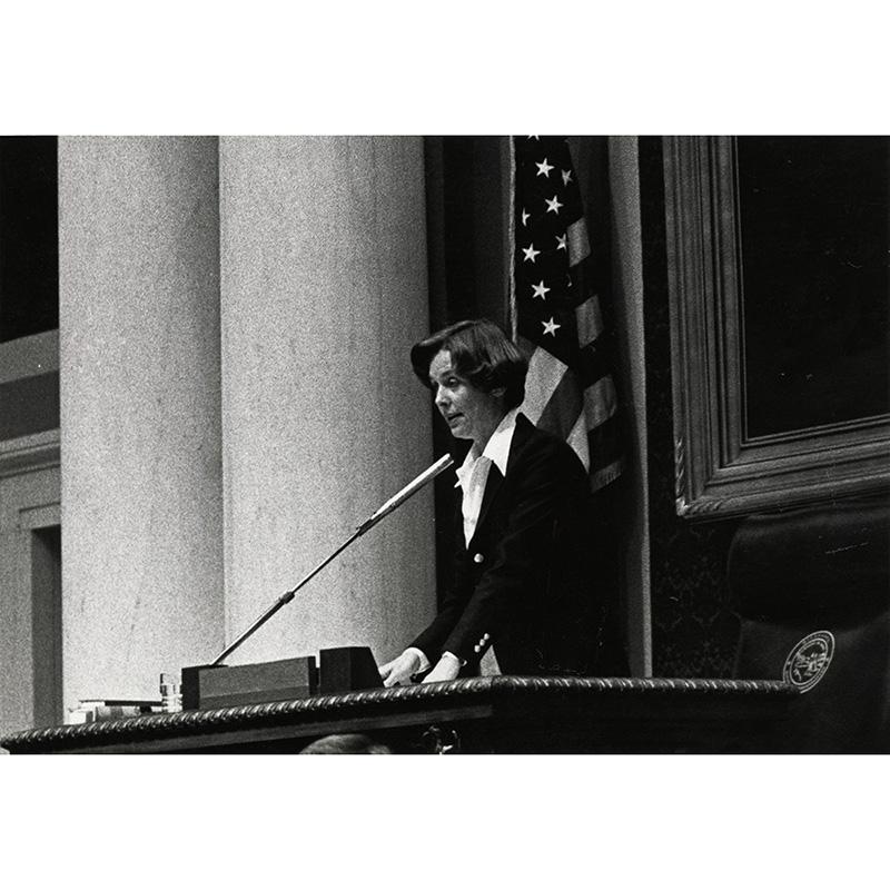 Joan Grow presiding over MN House of Reps, 1981.