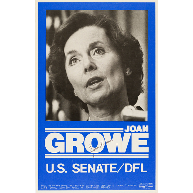 Joan Growe campaign poster, 1984.