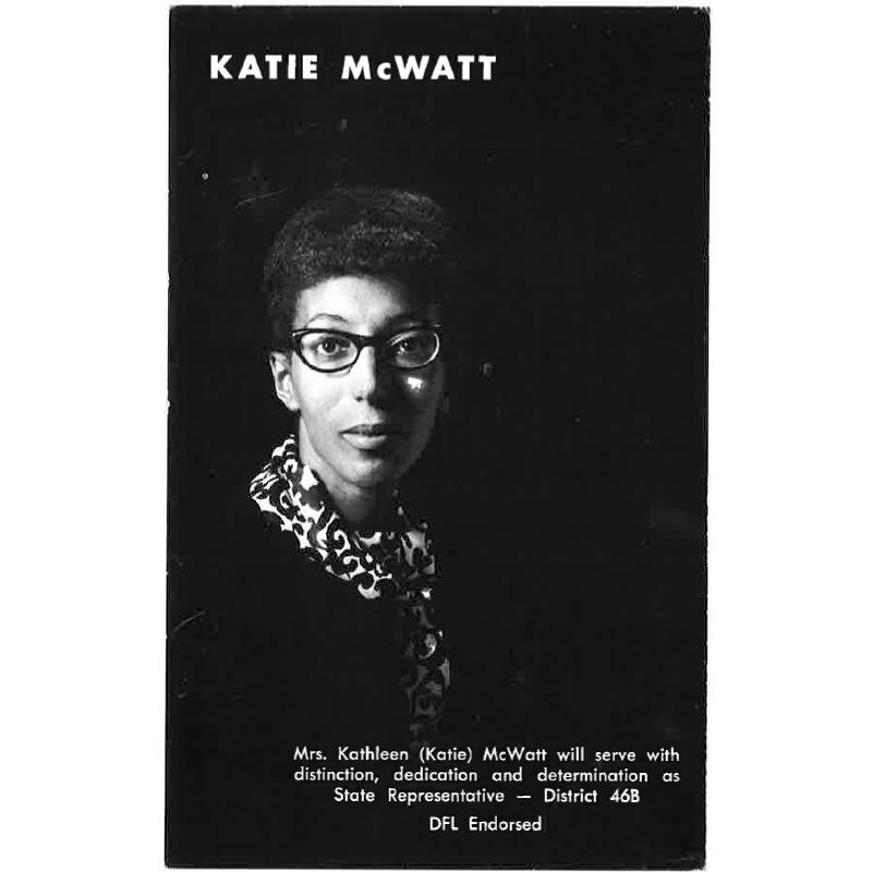 Katie McWatt, campaign poster, 1968.