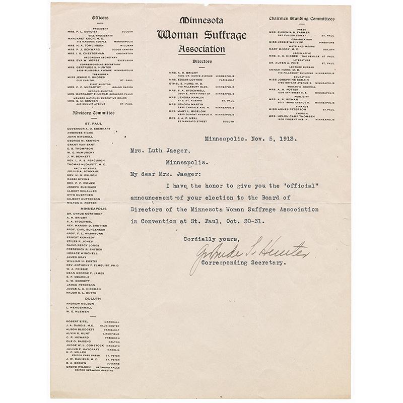 Letter to Nanny Jaeger, 1913.