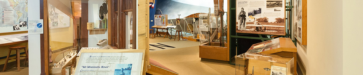 Exhibits on Charles Lindbergh and a view of the flight simulator.