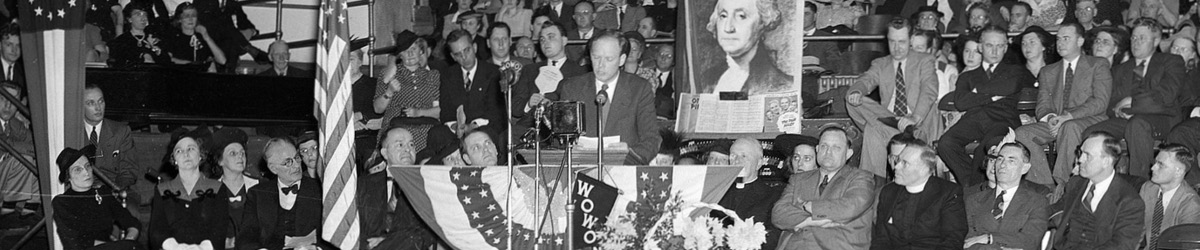 Famed aviator Charles Lindbergh speaks at a rally against American involvement in World War II in October 1941.