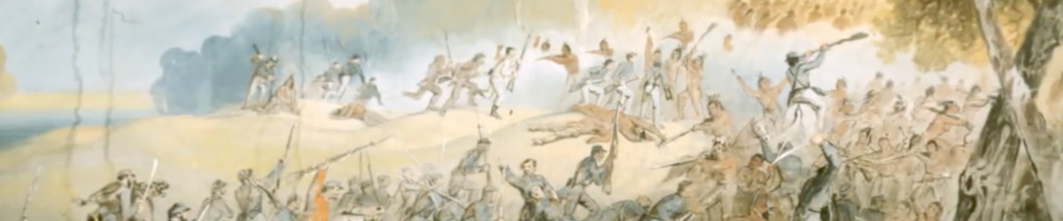 A painting of a war in which soldiers are on horses and fighting with guns.