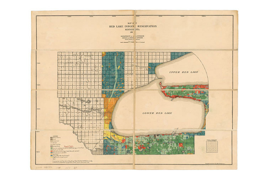 Map of Red Lake Indian Reservation, Minnesota. 1911.