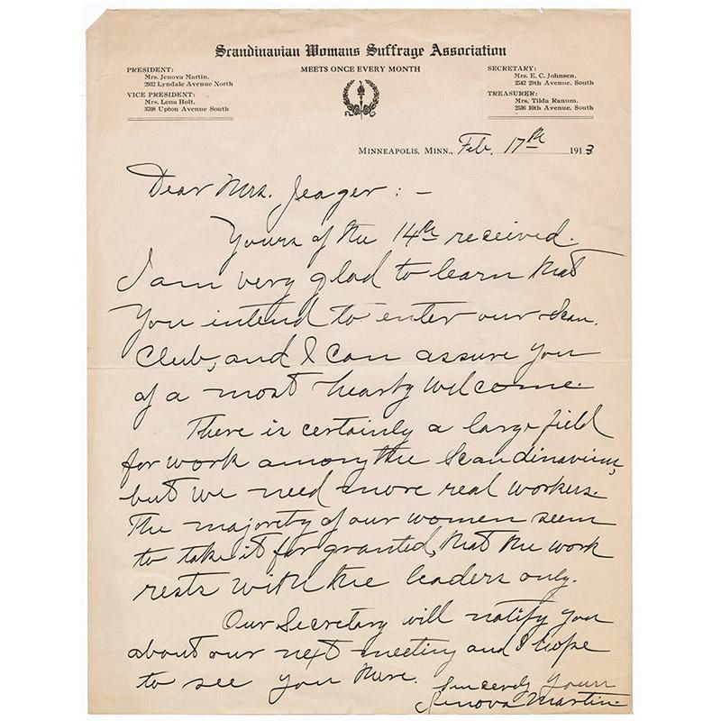 Letter from Jenova Martin to Nanny Mattson Jaeger, 1913.