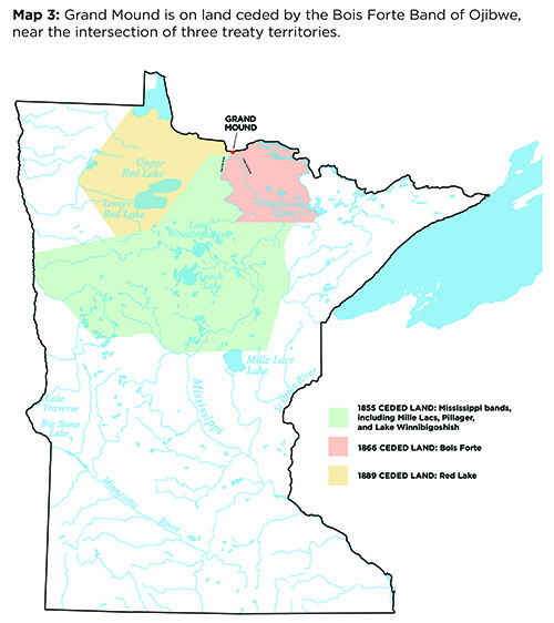 Map that shows Ojibwe lands ceded at or near Grand Mound