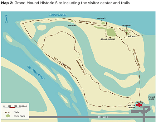 Map that shows Grand Mound and other mounds on site and visitor center