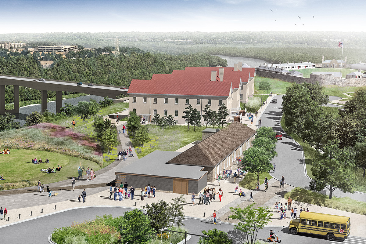 rendering showing a revitalized Historic Fort Snelling