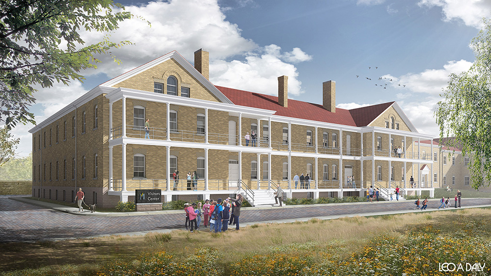 Rendering of building 18, new visitor center