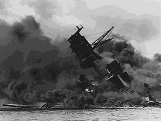 USS Arizona burning after the Japanese attack on Pearl Harbor.