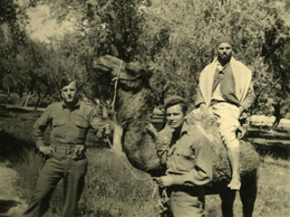 Donald S. Frederick encounters a camel in a North African oasis, 1942.