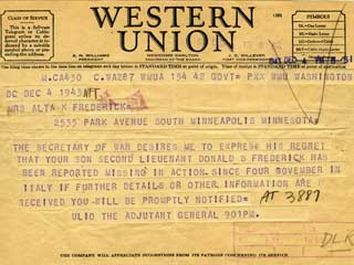 Telegram received by Donald s. Frederick's mother, reporting him a