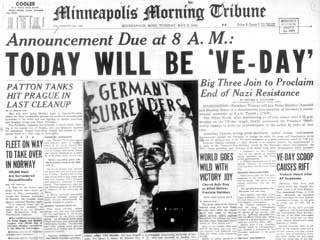 The Minneapolis Morning Tribune announces the end of the war in Europe, May 8, 1945.