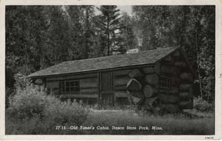 Cabin in Itasca State Park built by CCC, ca. 1940. Loc. no. SD1It r54