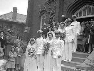 Four bridal couples, military wedding, 1943. Loc. no. GT3.32k p10