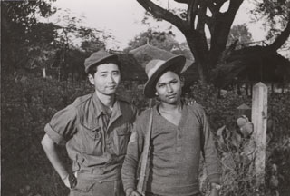 Toshio Abe (right) with Takekiro Arohi, Northern Combat Area Command, August 1944.