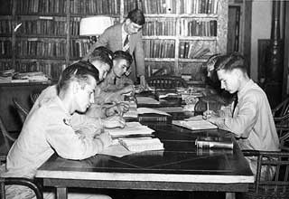 Adult education program at Civilian Conservation Corps camp, Maple Lake, 1938.