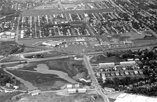 Photo: Aerial view, Shopping center, Highway 7, St. Louis Park, 1962.