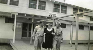 Bill Anderson with his mother and friend at Camp Claiborne, LA,