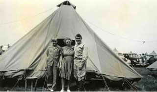 Bill Anderson with his mother and brother, Roger, Camp Ripley, 1940.