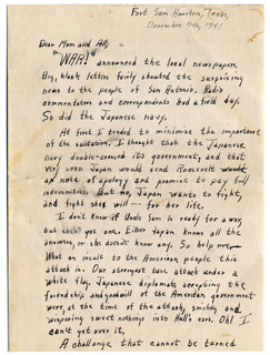 Letter written by Bill Anderson to his family, December 7, 1941.