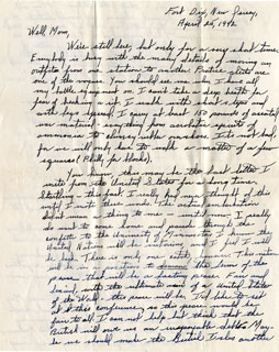 Letter from William L. Anderson to his mother, April 25, 1942.