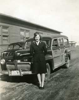 Photo: Irene Levin at the Astoria Naval Station, October 1945.
