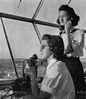 WAVES in control tower at Jacksonville, FL Naval Air Station, 1944.