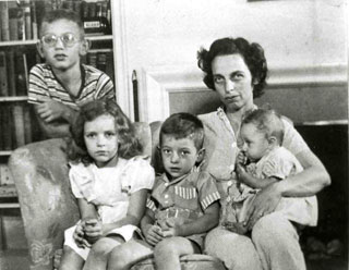 The Berman Family on the Home Front.  Left to right:David, Betsy, Sammy, Isabel, and Ruth, c. 1943.