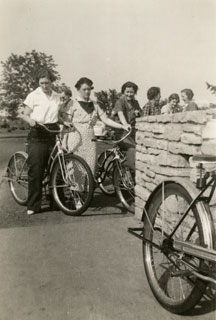 Photo: Marian Maxson and sewing club friends on a bicycle ride, ca. late-1930s.