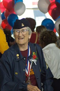 Elizabeth (B.J.) Hughes Gersey, arriving in Washington, DC with the Twin Cities Honor Flight, 2008.