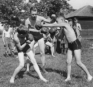 Photo: Boxing at the Young Men's Christian Association Camp on the St. Croix, 1937.