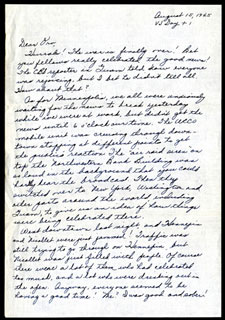 V-J Day letter written by Arlett Bredeson to Orville Mickelson, August 15, 1945.
