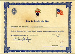 Knights of Columbus Honors of the Fourth Degree certificate awarded to John Leslie Brown, Sr., 1964.