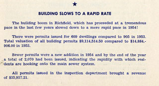 Document: Highlights of Richfield in 1954: Building Slows To A Rapid Rate.