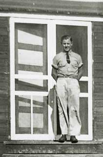 John Buskowiak, wearing his best sun tans, CCC Camp at Plainview, 1938.