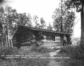 Cabin built by Civilian Conservation Corps, Itasca State Park,1945.