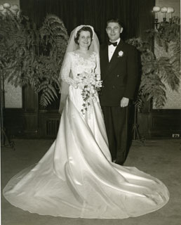 Bill and Marjorie Pelton Cameron on their wedding day, March 19, 1952.