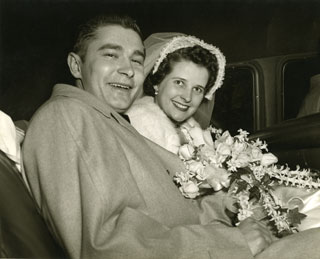 Photo: Bill and Marj Cameron, leaving the church for their wedding reception, March 19, 1952.