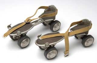Clamp-on rollerskates, ca. 1930s.