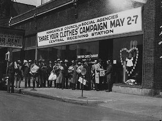 """""""Share Your Clothes"""" campaign, Minneapolis, 1932."""